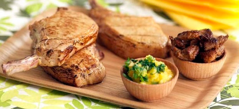 Mango And Orange Pork Chops With Spicy Tails