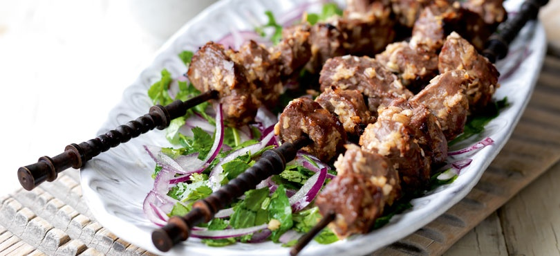 Lamb Kebabs Marinated in Ginger and Tamarind