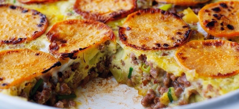 Mince and sweet potato frittata