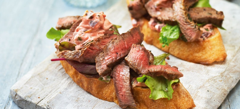 Rib-Eye Bruschetta with Beetroot and Lemon Mayonnaise